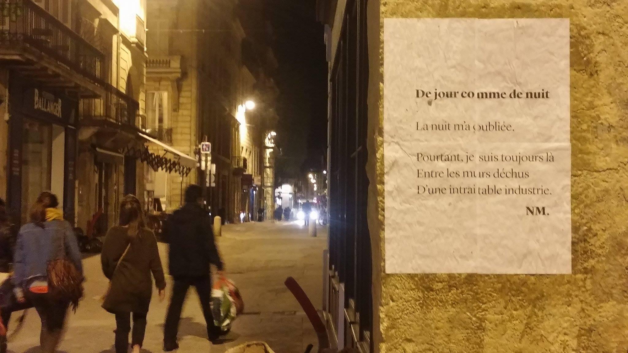 trois conils, de jour comme de nuit, poèmes de rue, bordeaux