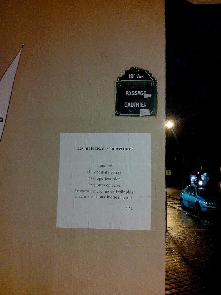 des matelas, des couvertures, paris, nathalieman, poésie, poèmes de rue, streetart