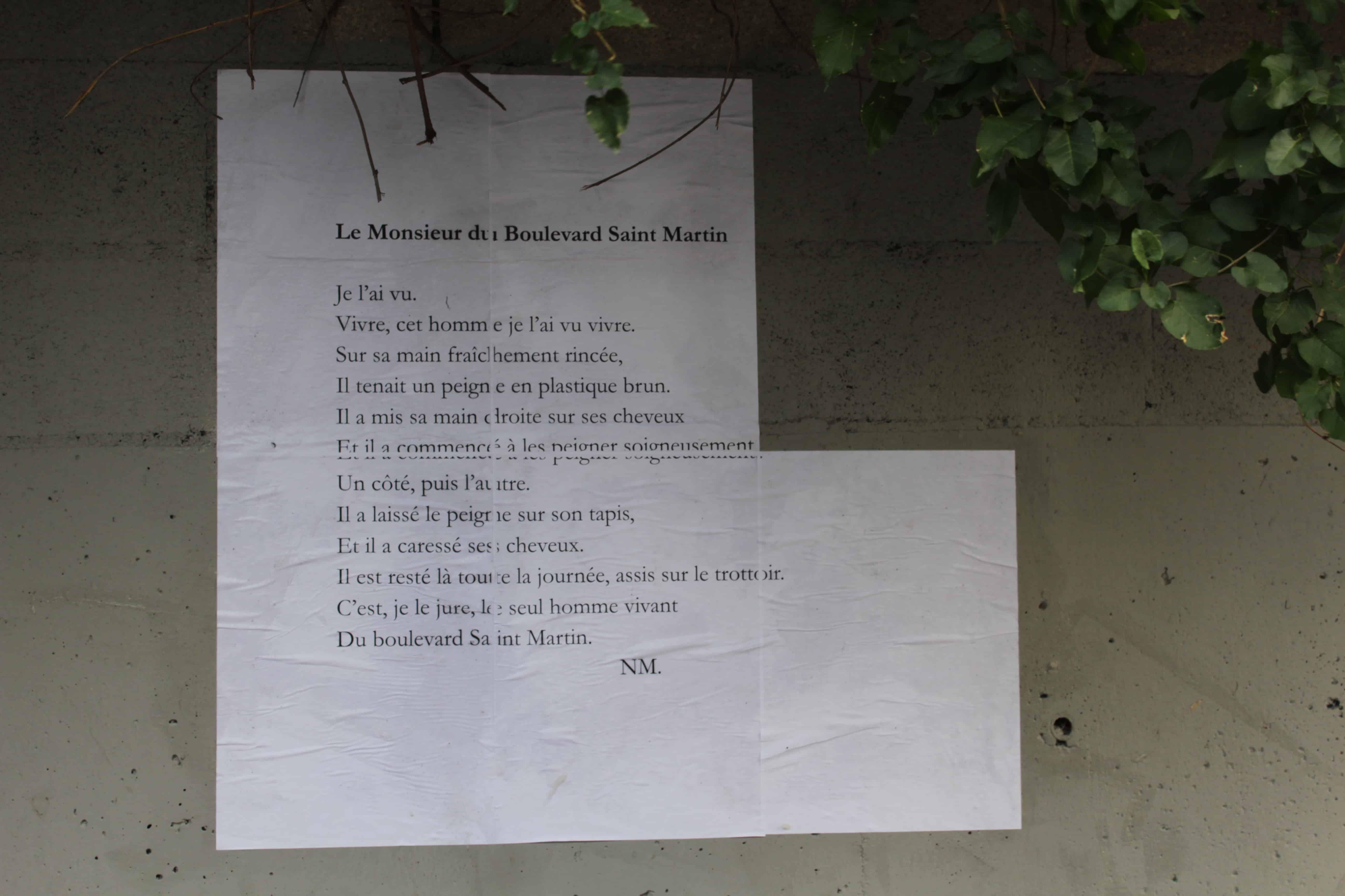 le monsieur du boulevard saint martin, csbv belleville, paris, nathalie man, poésie