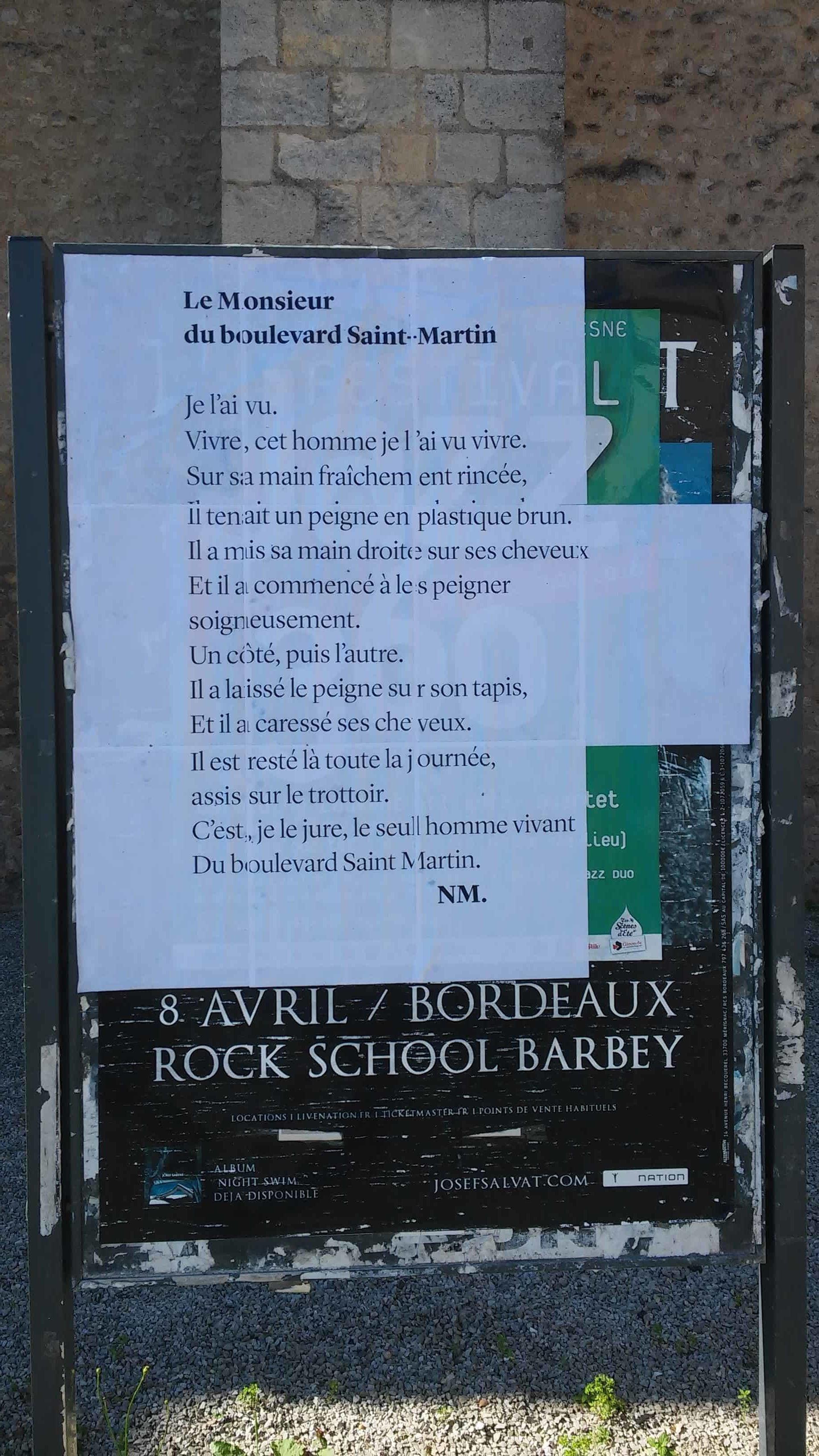 le monsieur du boulevard saint martin, poésie, nathalie man, tnba, bordeaux