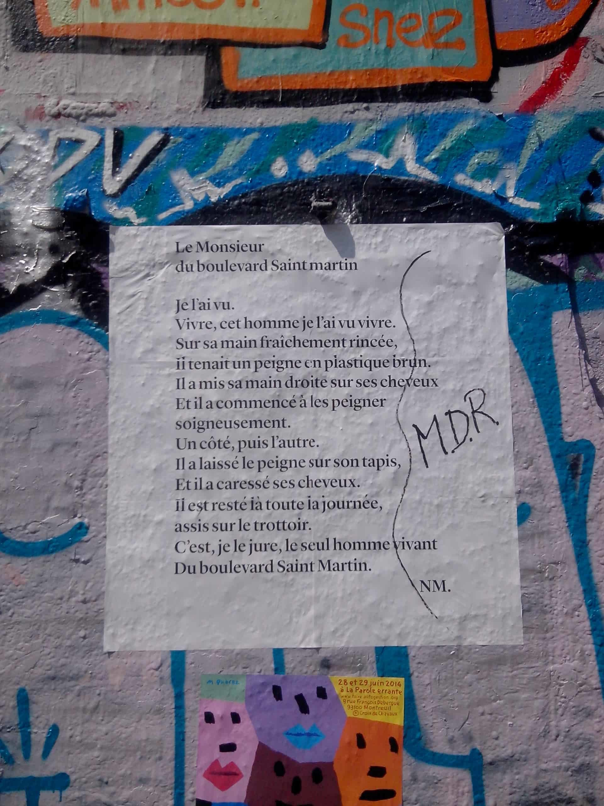 le monsieur du boulevard saint martin, poésie, nathalie man