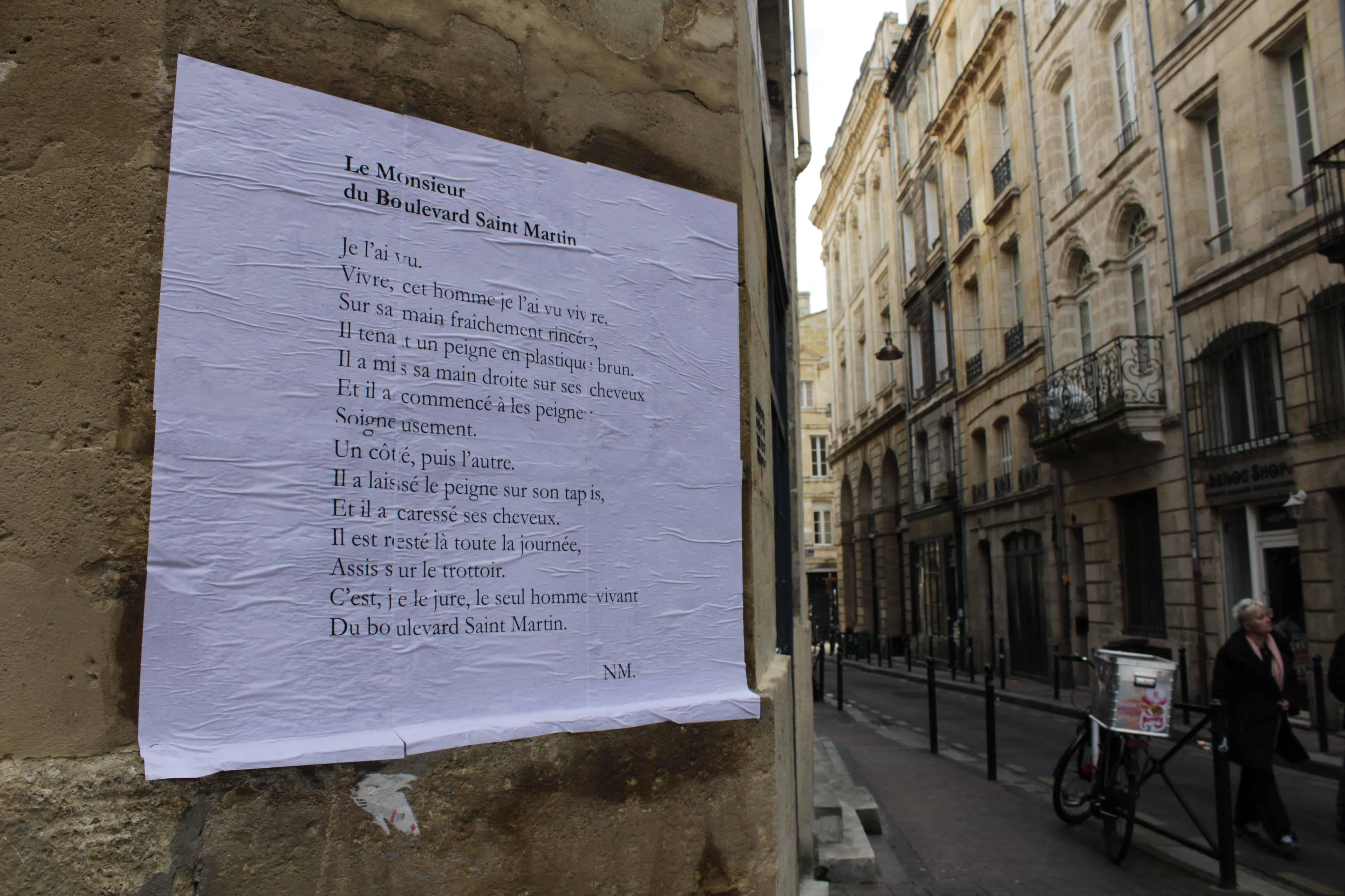 le monsieur du boulevard saint martin, poésie, bordeaux