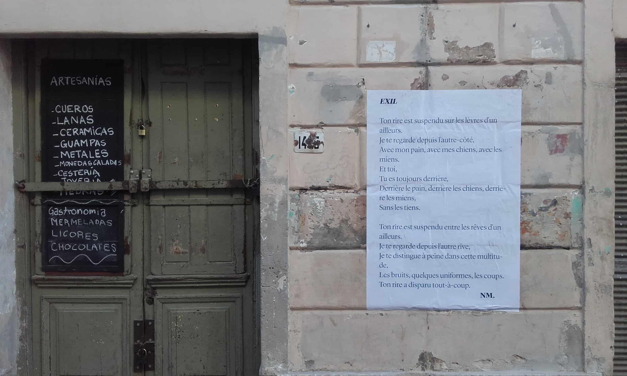 exil, poème de rue, montevideo, uruguay, nathalie man, poésie, fiu