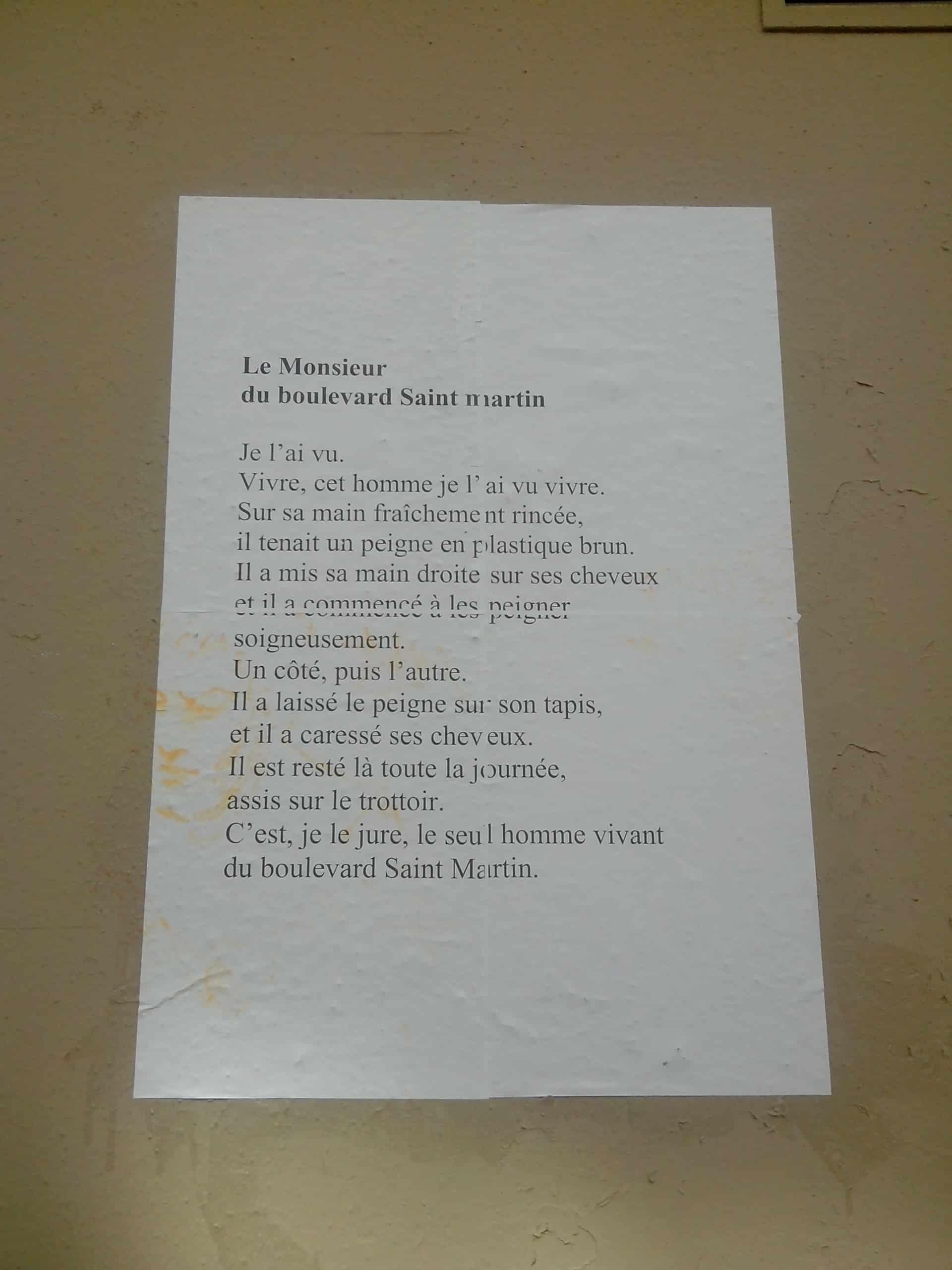le monsieur du boulevard saint martin, nathalie man, poésie, murs, paris, 19