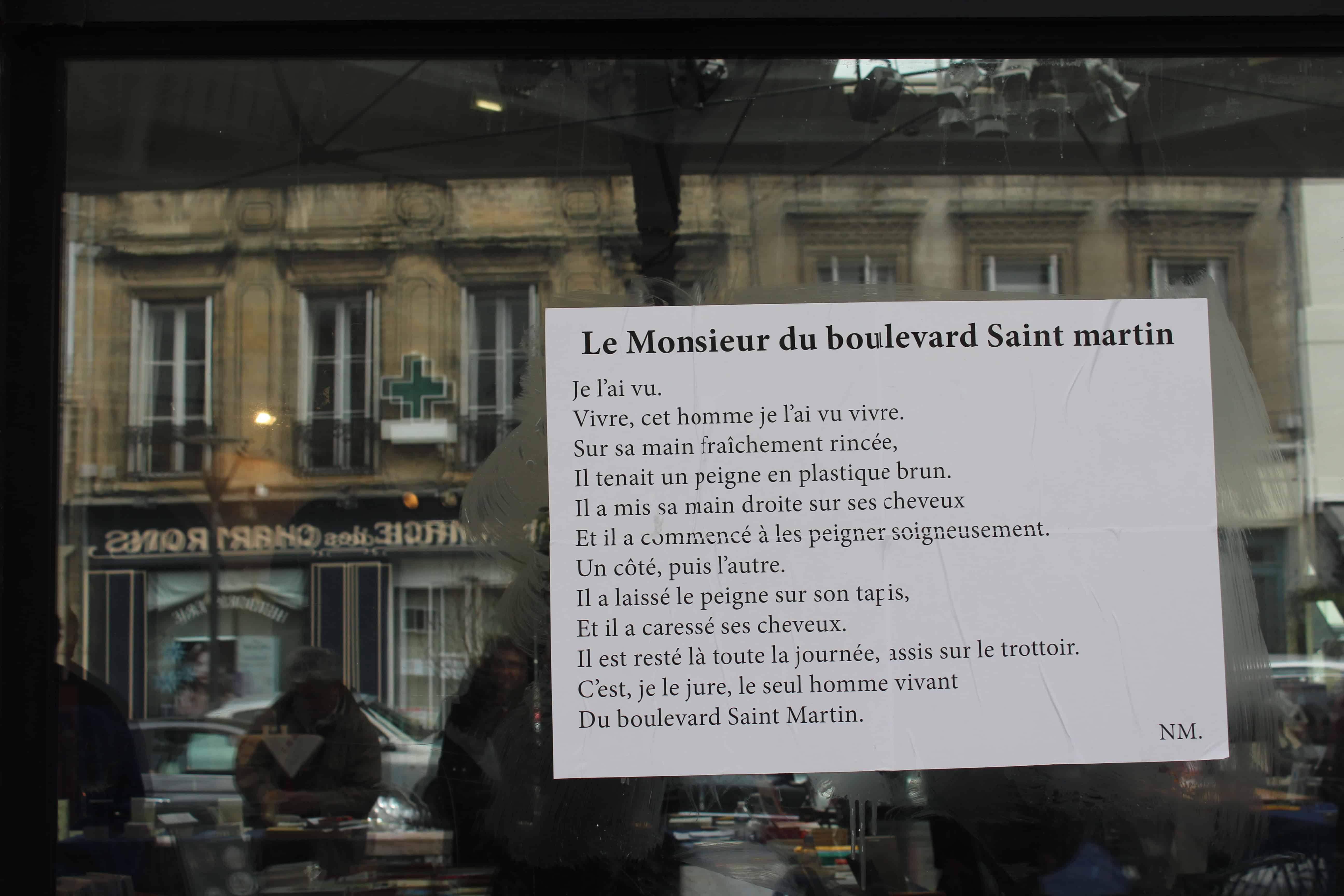 le monsieur du boulevard saint martin, bordeaux, printemps des poètes, 2015, nathalie man