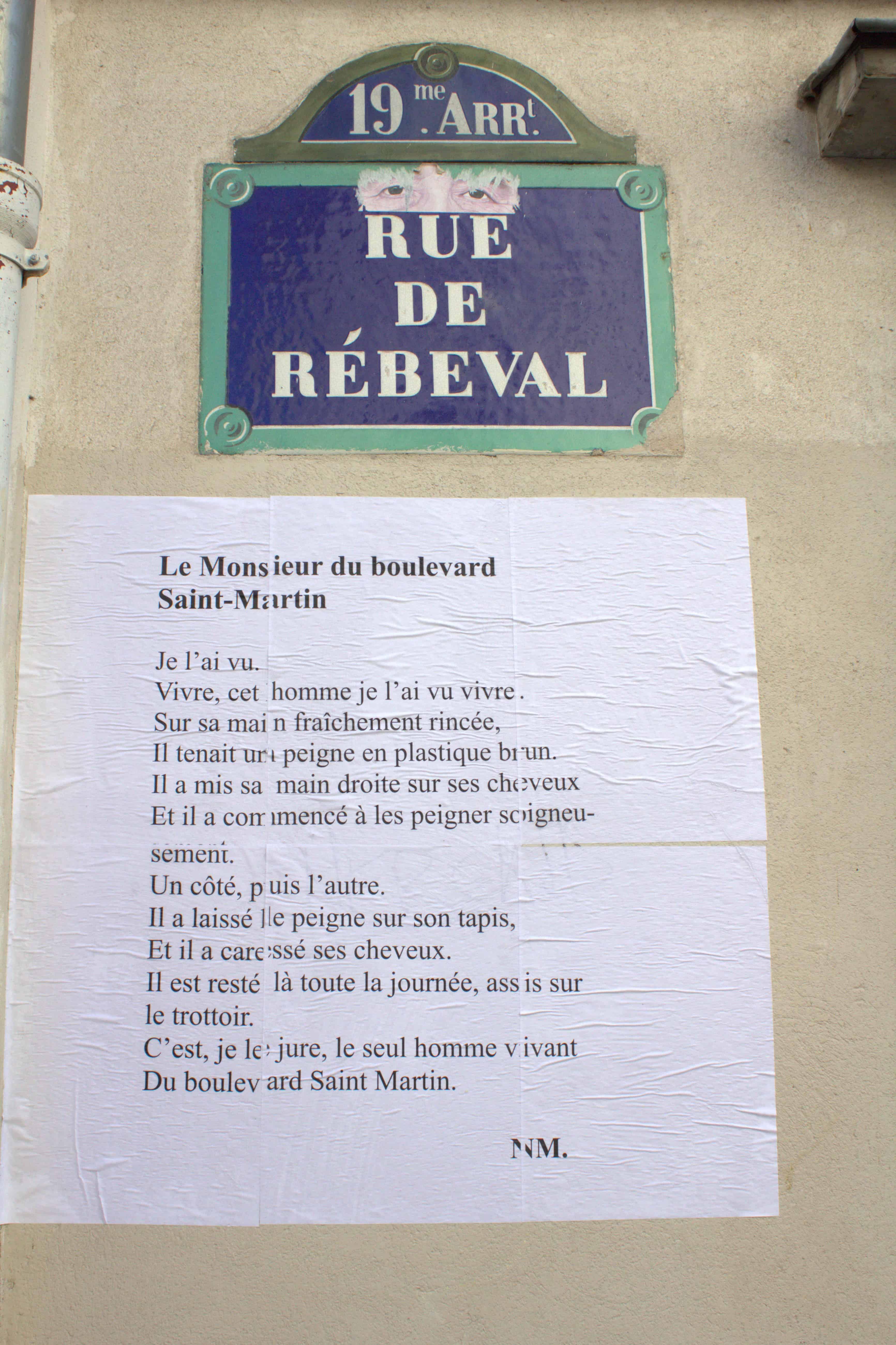 le monsieur du boulevard saint-martin, nathalie man, poésie, belleville