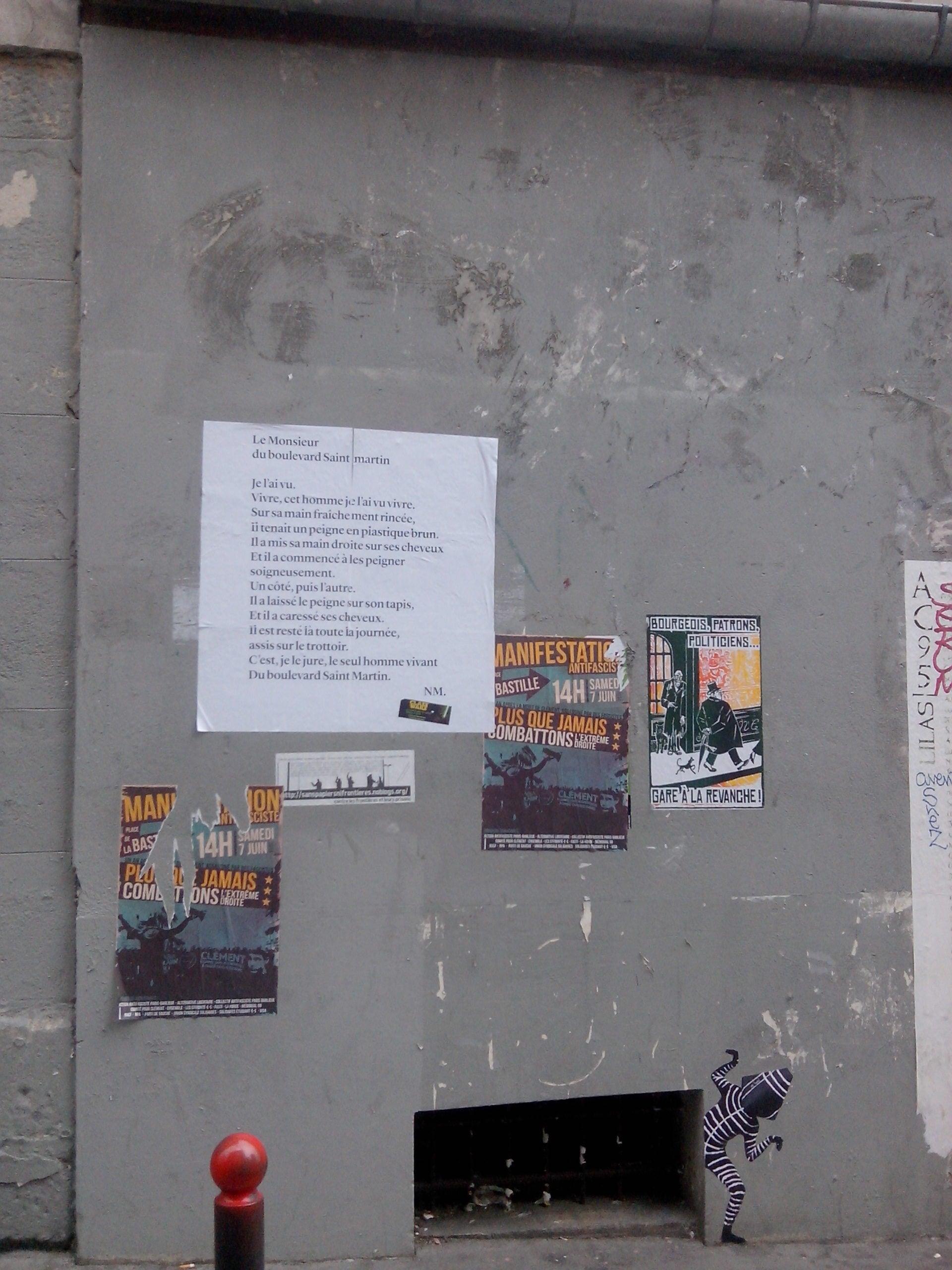 le monsieur du boulevard saint martin, nathalie man, paris, poésie