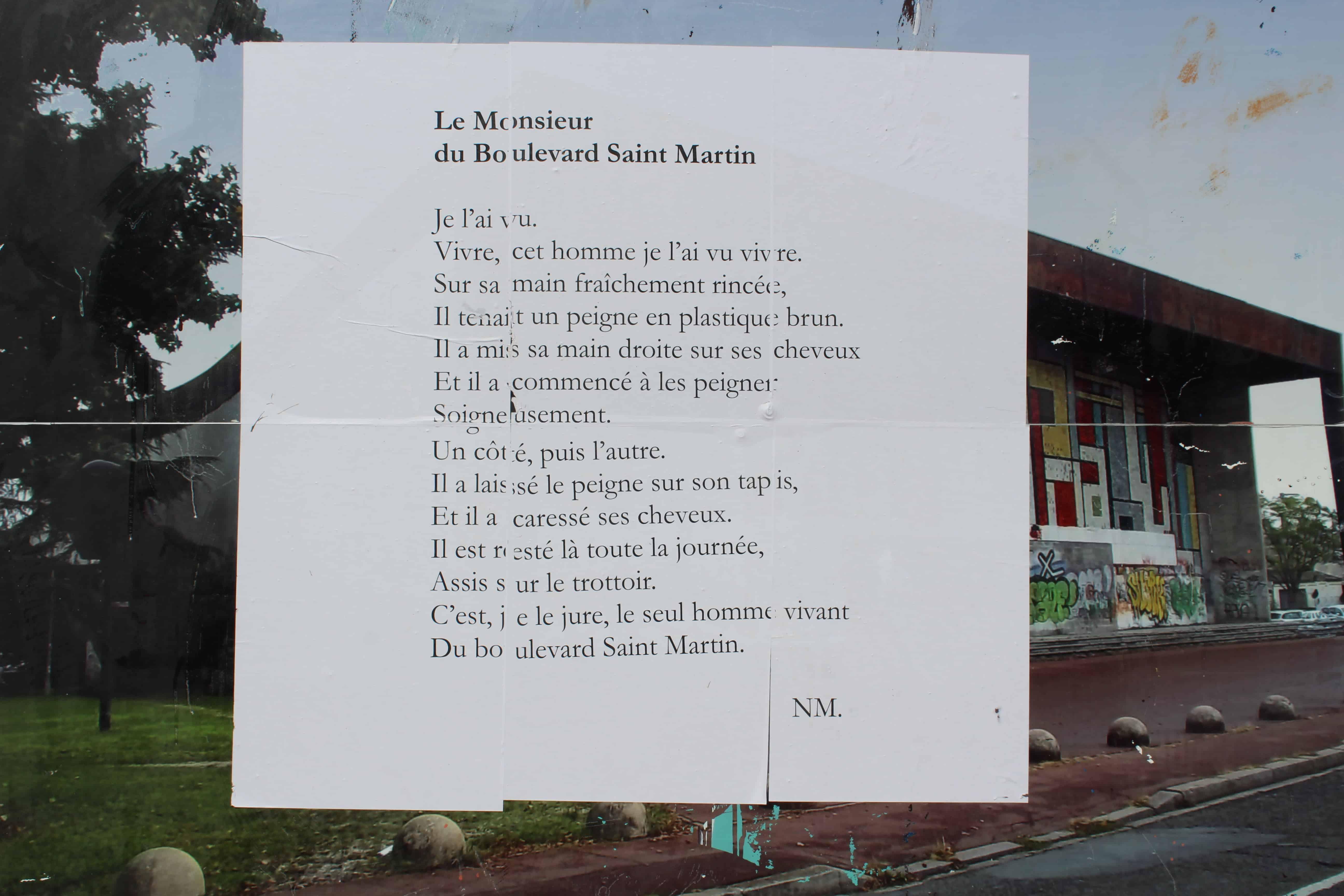 le monsieur du boulevard saint martin, poésie, bordeaux, nathalie man, le grand-parc