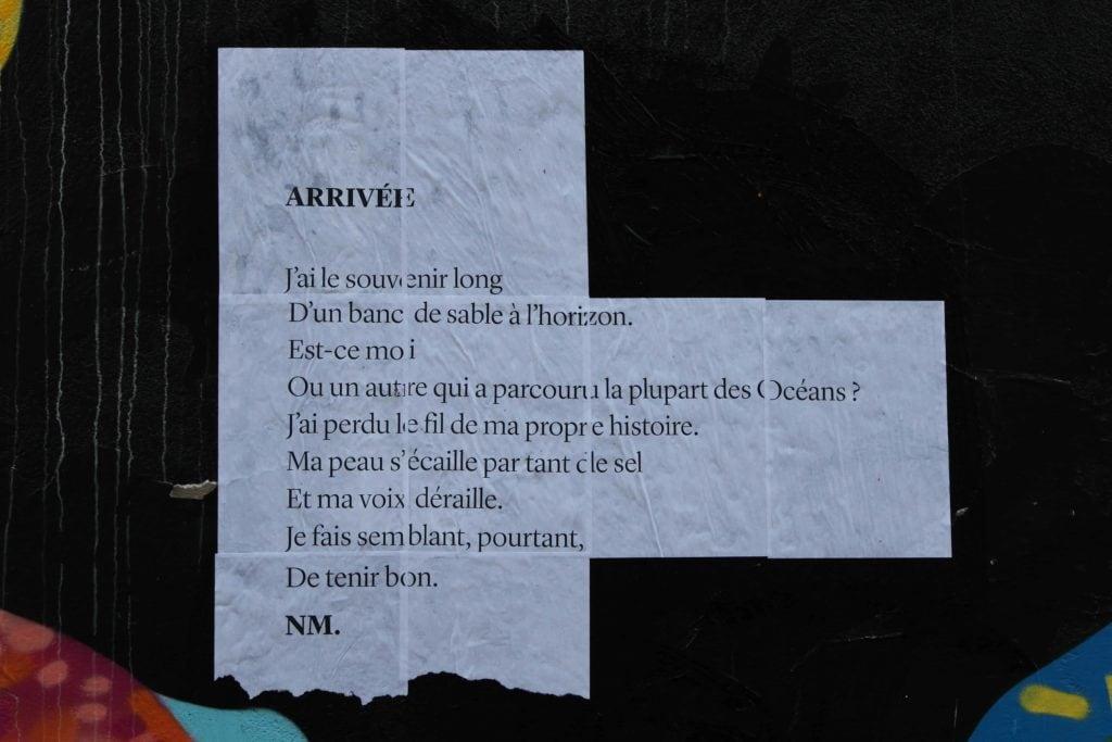 arrivée, poésie, poème de rue, nathalieman, streetart