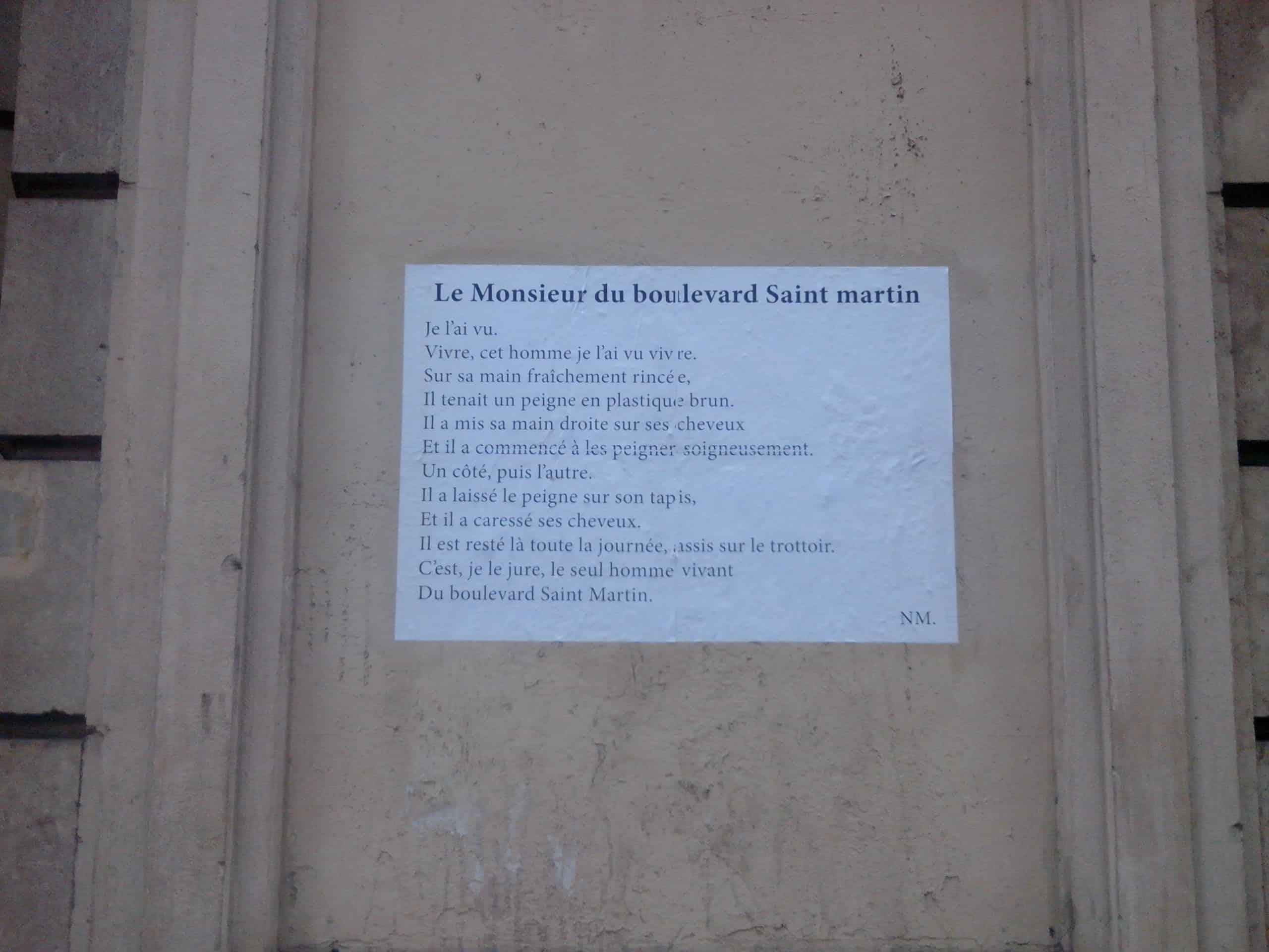 Le monsieur du boulevard saint martin, poeme, poesie, nathalie man, paris