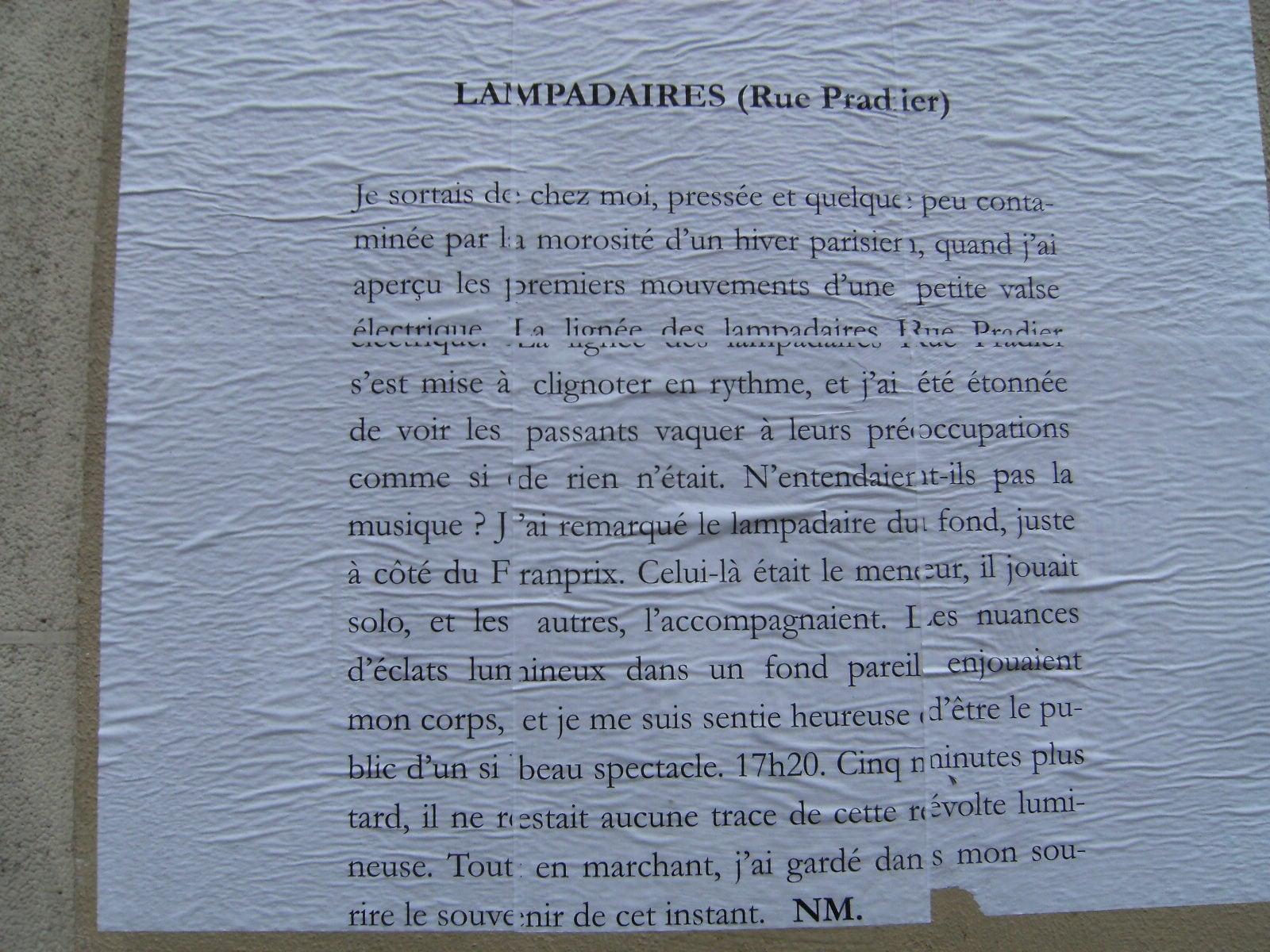 premier collage du poème lampadaires (rue pradier)