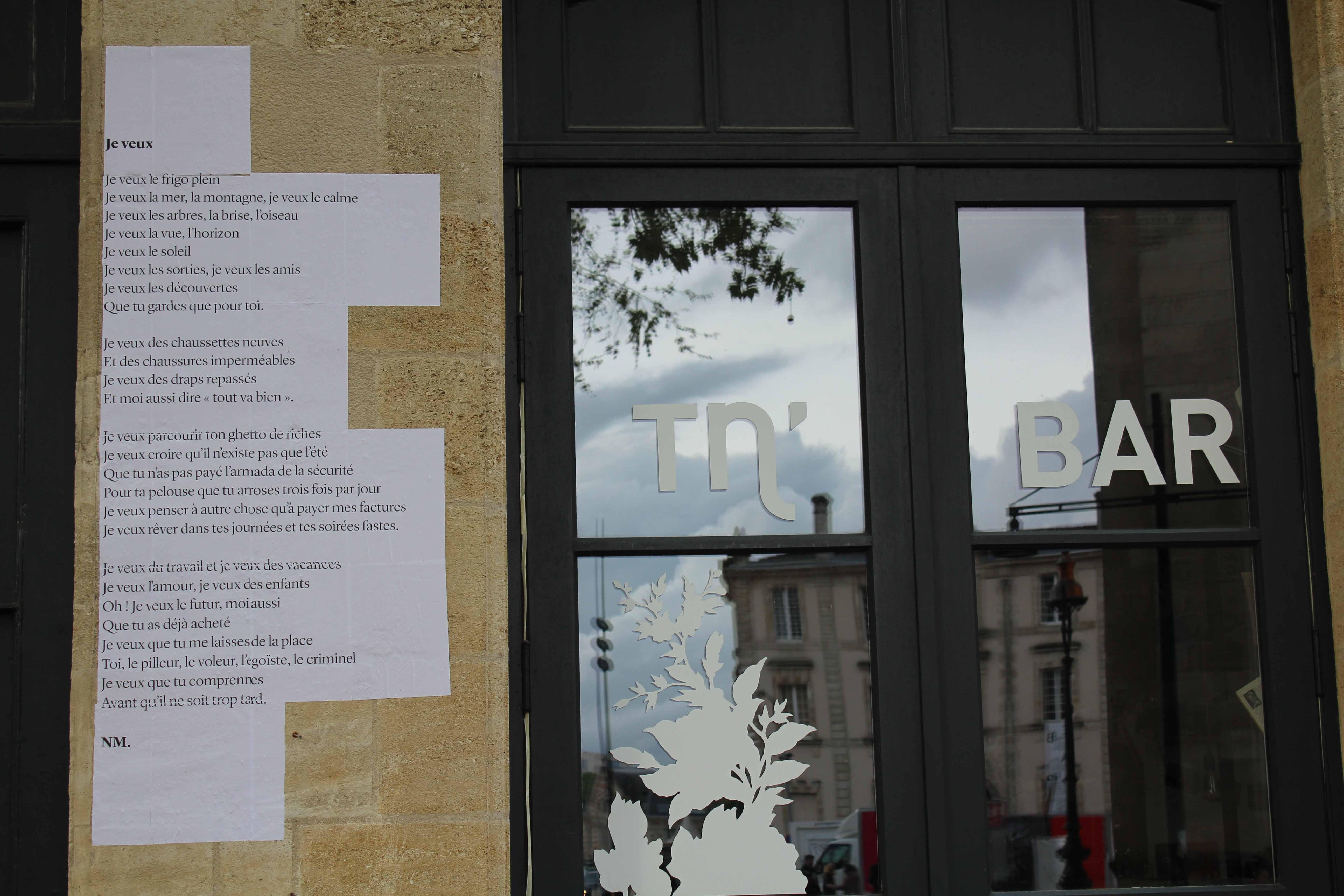 Je veux, poème de rue, nathalie man, TNBA