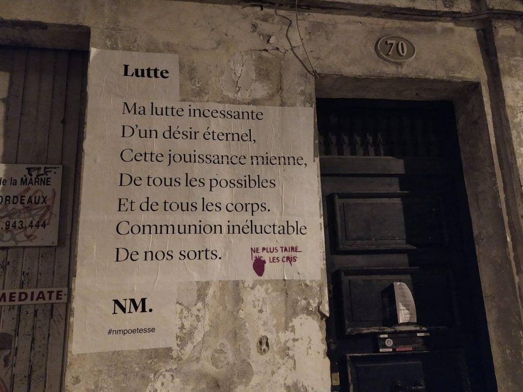 lutte nmpoetesse bordeaux ruekleber nathalieman poesie streetart
